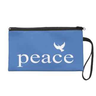 Blue Inspirational Peace Quote Wristlet Clutches