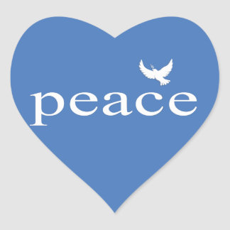 Blue Inspirational Peace Quote Heart Stickers