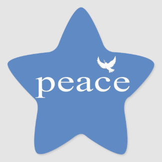 Blue Inspirational Peace Quote Star Stickers