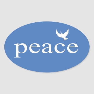 Blue Inspirational Peace Quote Oval Sticker