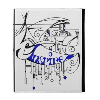 Blue Inspire In Lines and Dangles iPad Folio Cover