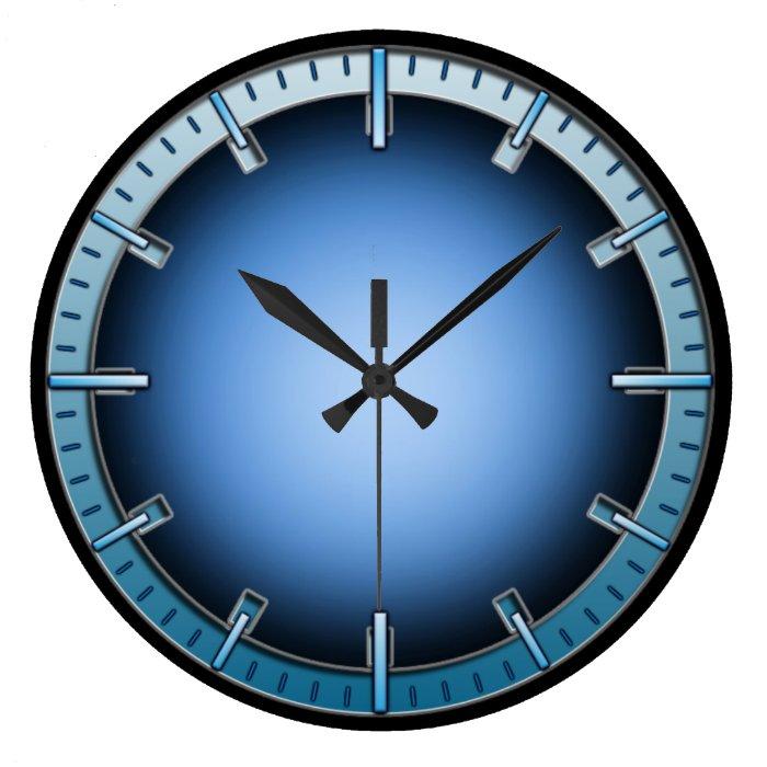 Blue interlock inner glow numberless wall clock zazzle - Numberless clock ...