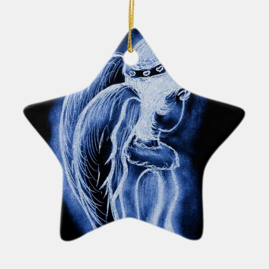 Blue Inverted Sideways Angel Ceramic Ornament