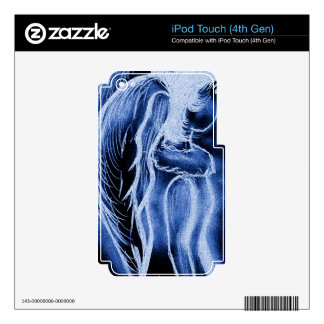 Blue Inverted Sideways Angel Decal For iPod Touch 4G