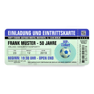 blue invitation and ticket (football ticket)