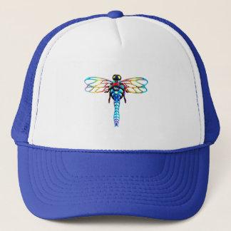 blue iridescent dragonfly trucker hat