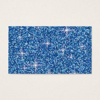 Blue iridescent glitter business card