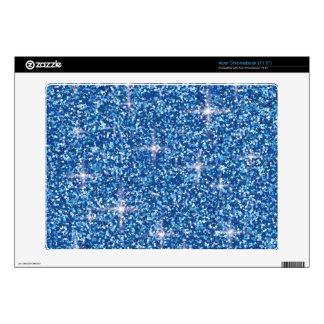Blue iridescent glitter decal for acer chromebook