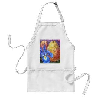 Blue Iris And Fruit Pear Painting Art - Multi Aprons