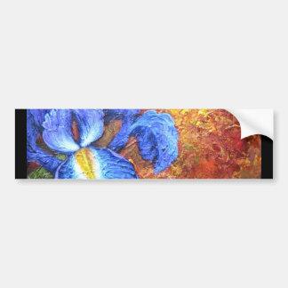 Blue Iris And Fruit Pear Painting Art - Multi Bumper Sticker