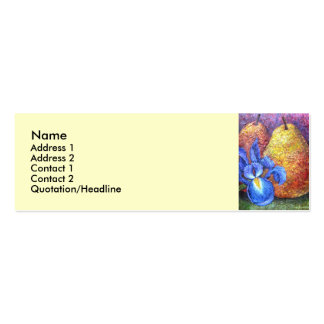 Blue Iris And Fruit Pear Painting Art - Multi Business Card Templates