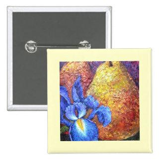Blue Iris And Fruit Pear Painting Art - Multi Pinback Button