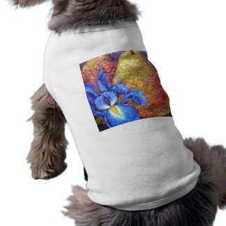 Blue Iris And Fruit Pear Painting Art - Multi Dog Tshirt