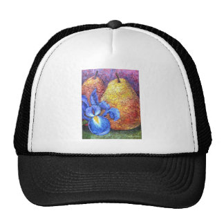 Blue Iris And Fruit Pear Painting Art - Multi Mesh Hats