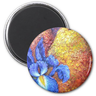 Blue Iris And Fruit Pear Painting Art - Multi Magnets