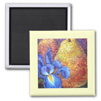 Blue Iris And Fruit Pear Painting Art - Multi Refrigerator Magnets
