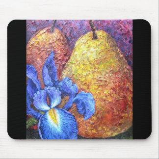Blue Iris And Fruit Pear Painting Art - Multi Mousepads
