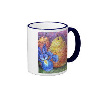 Blue Iris And Fruit Pear Painting Art - Multi Mugs