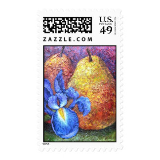 Blue Iris And Fruit Pear Painting Art - Multi Postage Stamps