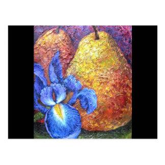Blue Iris And Fruit Pear Painting Art - Multi Postcard
