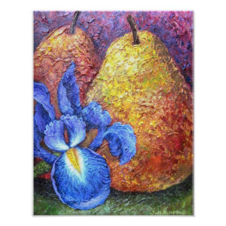 Blue Iris And Fruit Pear Painting Art - Multi Posters