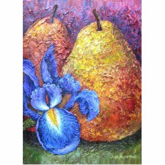 Blue Iris And Fruit Pear Painting Art - Multi Statuette