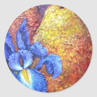 Blue Iris And Fruit Pear Painting Art - Multi Stickers