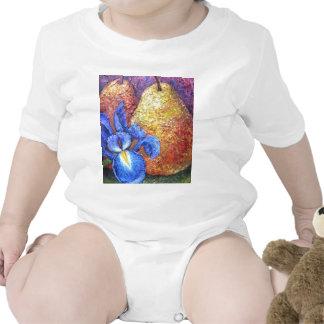 Blue Iris And Fruit Pear Painting Art - Multi Tshirt