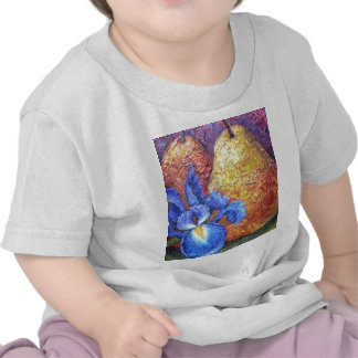 Blue Iris And Fruit Pear Painting Art - Multi T-shirts
