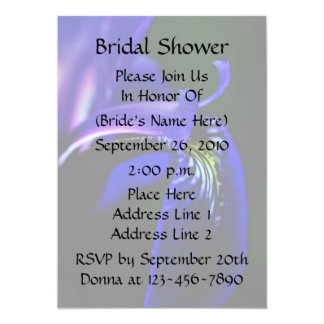 "Blue Iris Floral Bridal Wedding Shower Invitation 5"" X 7"" Invitation Card"