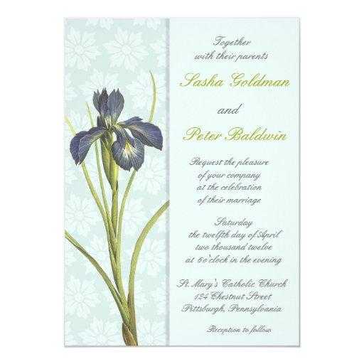 Blue Iris Floral Wedding Invitation