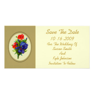 Blue Iris Flower Bouquet Wedding Save The Date Customized Photo Card