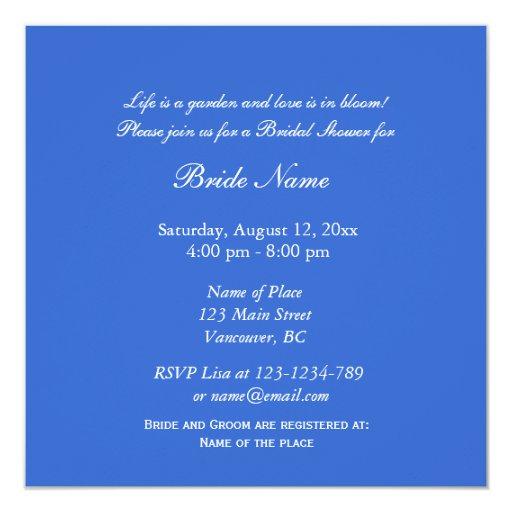 Blue iris flower bridal shower invitation
