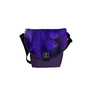 Blue Iris Flower Mini Messenger Bag Outside Print