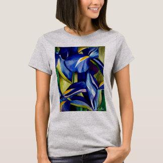 Blue Iris flower original watercolor art painting T-Shirt