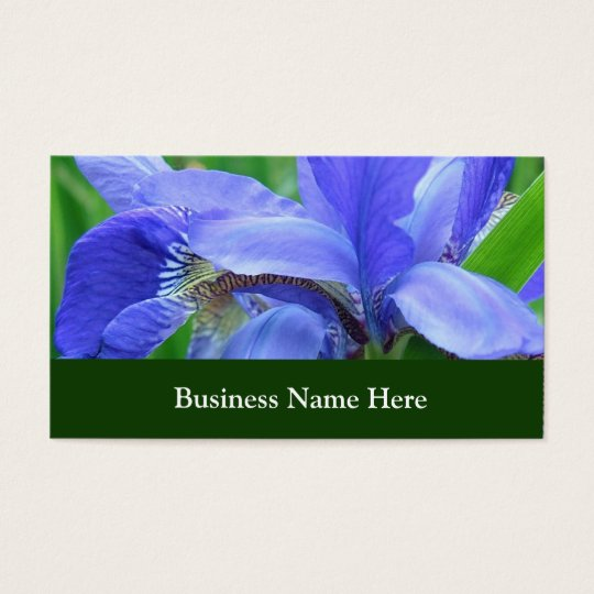 Blue iris flowers business card