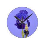 Blue Iris Garden Flowers Flora Photo Clock