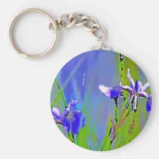 Blue Iris Garden Flowers Florists Designer Art Keychain