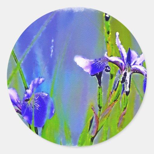 Blue Iris Garden Flowers Florists Designer Art Classic Round Sticker