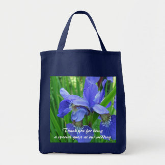 Blue iris garden flowers thank you grocery tote bag