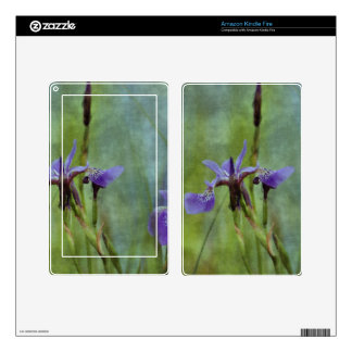 Blue Iris Impressionist Floral Gift Series Skins For Kindle Fire