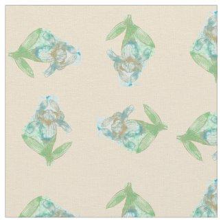 Blue Iris Inkblot Four Way Peach Print Fabric