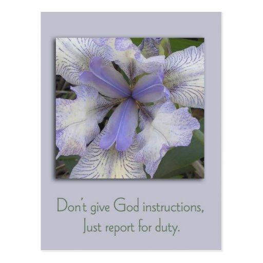 Blue Iris Inspirational Postcard