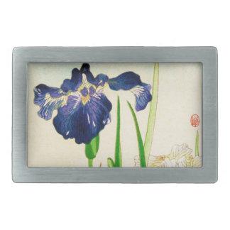 Blue Iris - Japanese watercolor print Belt Buckle