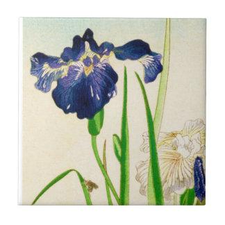 Blue Iris - Japanese watercolor print Ceramic Tile