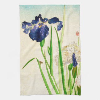 Blue Iris - Japanese watercolor print Kitchen Towel