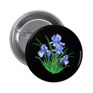 Blue Iris on black Pinback Buttons