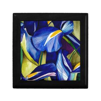 Blue Iris original art watercolor flowers Jewelry Box