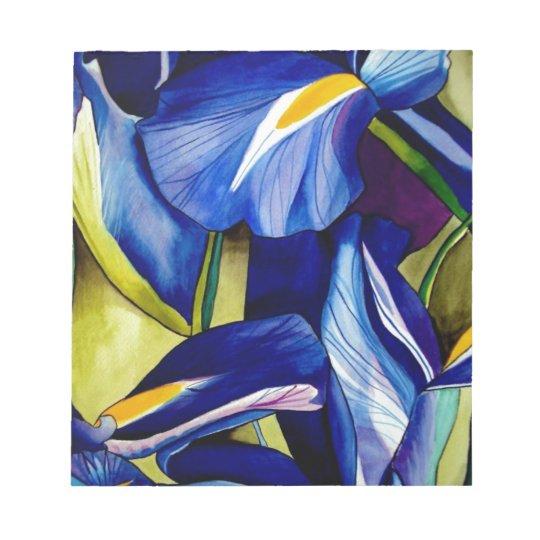Blue Iris original art watercolor flowers Notepad