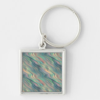 Blue Iris Wavy Texture Silver-Colored Square Keychain